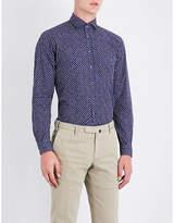 Duchamp Mens Navy Casual Tailored-Fit Cross-Pattern Shirt