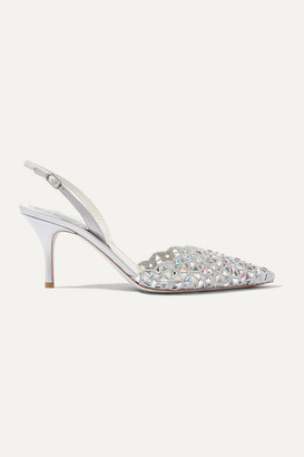 Rene Caovilla Macre Crystal-embellished Lace And Leather Slingback Pumps - Silver