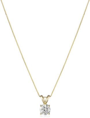 """Amazon Collection IGI Certified 14k Yellow Gold Lab Created Solitaire Pendant Necklace (3/4cttw I-J Color SI1-SI2 Clarity) 18"""""""