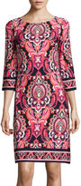 Jessica Howard 3/4-Sleeve Paisley Print Shift Dress
