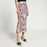 Thumbnail for your product : River Island Womens Pink animal print side split maxi skirt