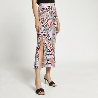 River Island Womens Pink animal print side split maxi skirt