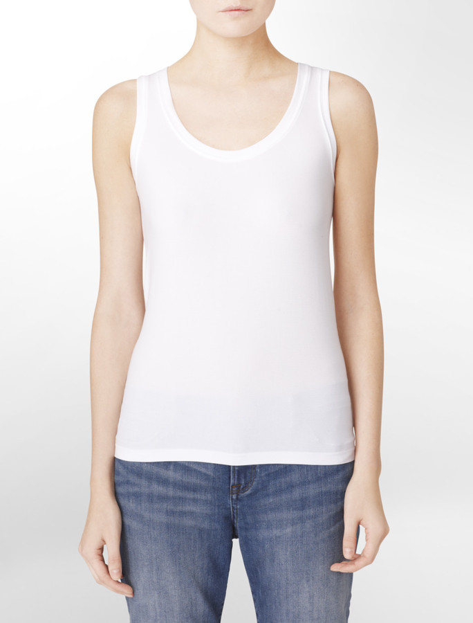 Calvin Klein White Solid Compression Tank Top