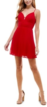 City Studios Juniors' Pleated Chiffon Skater Dress