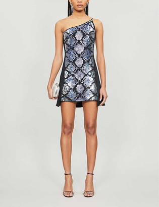 David Koma Snakeskin-effect metallic crepe mini dress