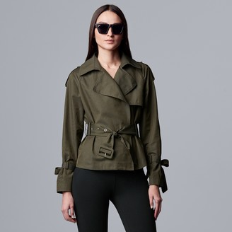 Vera Wang Women's Simply Vera Cropped Trench Coat