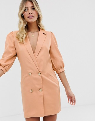 In The Style puff sleeve tuxedo blazer dress in taupe