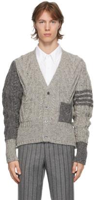 Thom Browne Grey Wool Funmix 4-Bar Cardigan