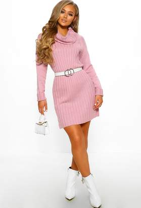 Pink Boutique Giving Me Butterflies Pink Cable Knit Longline Jumper Dress