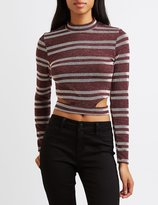 Charlotte Russe Striped Cut-Out Crop Top
