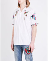 Gucci Flower-embroidered Regular-fit Cotton Shirt
