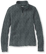 L.L. Bean Double L Cotton Sweater, Zip-Front Cable Cardigan Marled