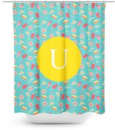 Good4Life [ U - INITIAL ] Name Monogram Polyester Fabric Bathroom Decor Shower Curtain Set with Hooks [ Flat Sweets Fast Food Pattern ]