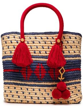 Yosuzi Roja Embellished Woven Straw Tote