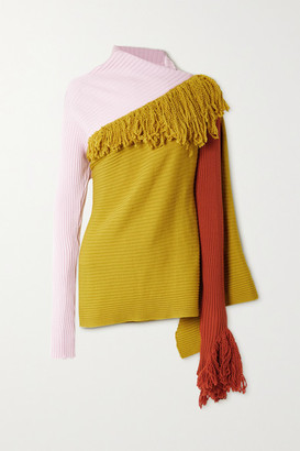 Marques Almeida Net Sustain Rem'ade By Fringed Merino Wool Sweater