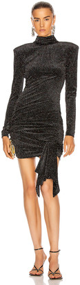 Redemption High Neck Velvet Glitter Mini Dress in Black & Puntaspillo Glitter | FWRD