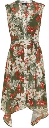 Wallis Khaki Leaf Print Shirt Dress