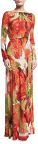 Naeem Khan Beaded Floral Long-Sleeve Gown with Cowl Back, Orange