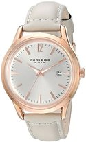 Akribos XXIV Women's Quartz Rose-Tone Case with Rose-Tone Accented Silver Sunray Dial on Grey Glove Style Genuine Leather Strap Watch AK921GY