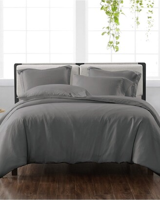 Cannon Solid Grey 3Pc Duvet Cover Set