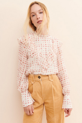 En Saison Ruffled Gingham Blouse