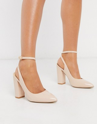Truffle Collection pointed block heeled shoes in beige