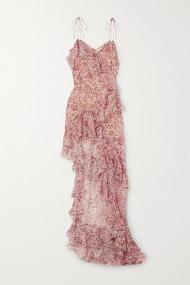 Raquel Diniz Stella Asymmetric Ruffled Floral-print Silk-chiffon Dress - Blush