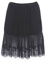 Gold Hawk Pleated Lace Skirt