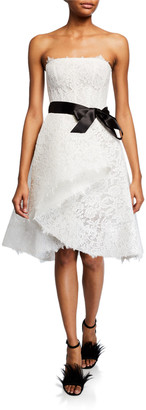 Monique Lhuillier Chantilly Lace & Tulle Cocktail Dress w/ Satin Belt