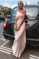 Little Mistress Bridesmaid Pearl One Shoulder Satin Top Maxi Dress