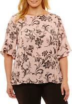 Liz Claiborne 3/4 Sleeve Crew Neck Georgette Blouse-Plus