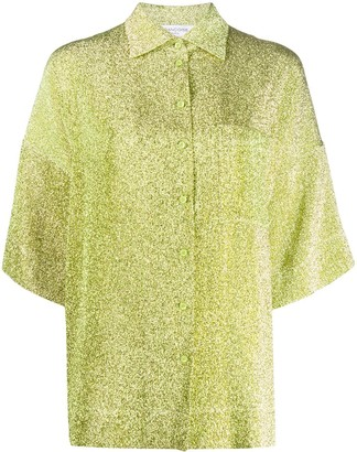 Françoise Glitter-Effect Short Sleeve Blouse