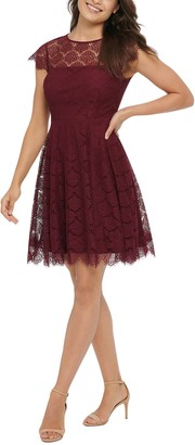 Kensie Lace Back Cutout Fit & Flare Dress