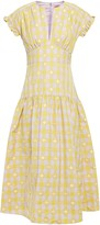 Kate Spade Tie-back Gingham Fil Coupe Taffeta Midi Dress