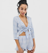 Urban Bliss wrap front gingham crop top