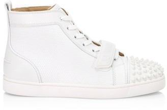 Christian Louboutin Louis Spikes Flat Textured Leather High-Top Sneakers