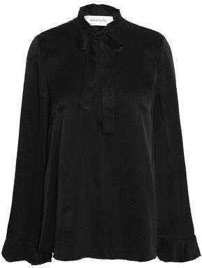 Zimmermann Knotted Washed Silk-Satin Blouse