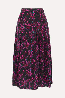 Les Rêveries Pleated Floral-print Silk-crepe Skirt - Black