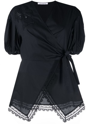 VIVETTA Embroidered Wrap-Front Blouse