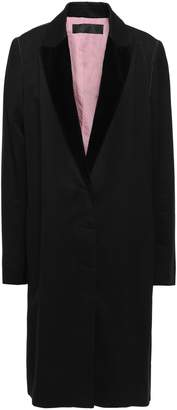 Haider Ackermann Velvet-trimmed Cotton-blend Twill Coat