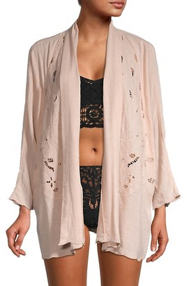 Free People Embroidered Floral Cotton-Blend Robe