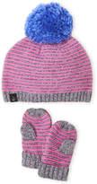 Cuddl Duds Toddler Girls) Stripe Pom Pom Beanie & Mitten Set