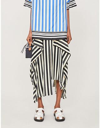 Loewe Striped asymmetric woven midi skirt