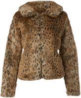 Women's Ichi Leopard print faux fur coat