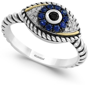Effy Sapphire (1/5 ct. t.w.) and Diamond (1/6 ct. t.w.) Evil Eye Ring in Sterling Silver & 18k Gold