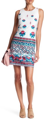 Taylor Border Floral Stretch Shift Dress