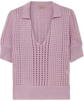 Bottega Veneta Pointelle-knit Silk Top - Lavender