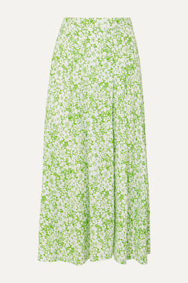 Faithfull The Brand Cuesta Pleated Floral-print Crepe Midi Skirt - Mint