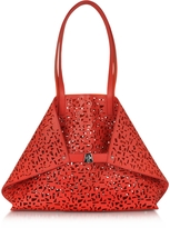 Akris Ai Medium Scarlet/Zinnia Laser Cut Leather Tote Bag w/Inner Canvas Tote