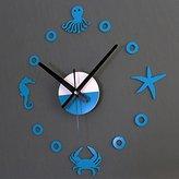 Alrens_DIY(TM)Starfish Hippocampus Crab Octopus Ocean World Creative DIY Self Adhesive Acrylic Living Room Decoration Digital Wall Clock Quartz 3D Home Décor Retro Art Watch Kid's Room Décor (Blue)
